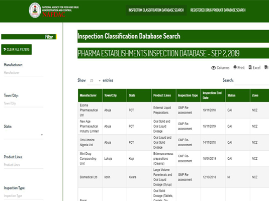 NAFDAC Drug Inspection Classification Database Search